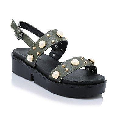 L'été, sandales femmes lianes Slingback lumière confort extérieur en simili cuir semelles lianes occasionnel robe noire BuckleGreen Rivet Bijoux Green