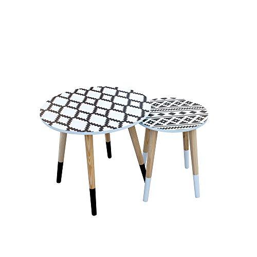 THE HOME DECO FACTORY HD3877 Lot de 2 Tables Basses Gigognes Ethnique Plateau Rond, Bois, Blanc, Noir, 43 x 43 x 48 cm