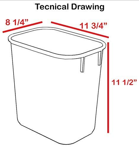 Acrimet-Wastebasket-Bin-For-Recycling-12L-Plastic-Blue-Yellow-Red-Green-Set-of-4