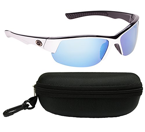 Strike King S11Optik Golf Polarisierte Sonnenbrille, White-Black Frame/White-Blue Mirror - Gray Base Lens