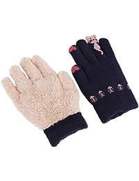 10d878ed36 AfinderDE Kinder Touchscreen Handschuhe Fingerhandschuhe dicken warmen  Plüsch Strick Handschuhe Strickhandschuhe Smartphone Touch Gloves für…