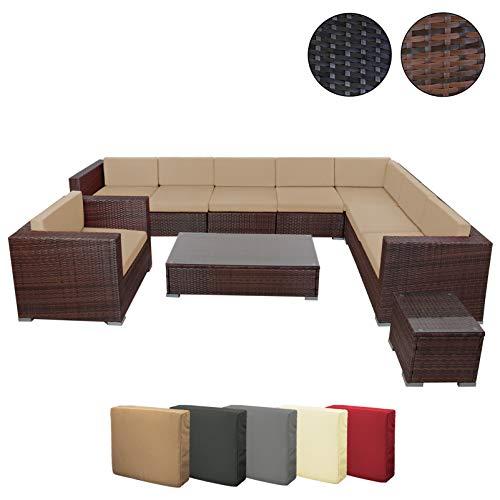 BB Sport 25 teilige Polyrattan Lounge Sitzgruppe für bis zu 8 Personen inkl. Auflagen und Bezüge Tische mit Sicherheits-Glasplatten, Farbe:Schwarz-Braun meliert/Zuckerbraun