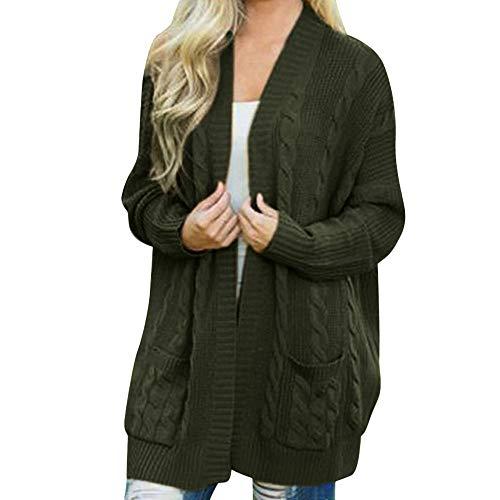 Damen Winter Open Front Solide Pocket Cardigan Langarm Sweater Coat -