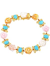 Sleeping Beauty Turquoise , Garnet, White, Pink, Yellow Mother of Pearl Floral Bracelet in Yellow Gold Overlay Sterling Silver 26.730 Ct