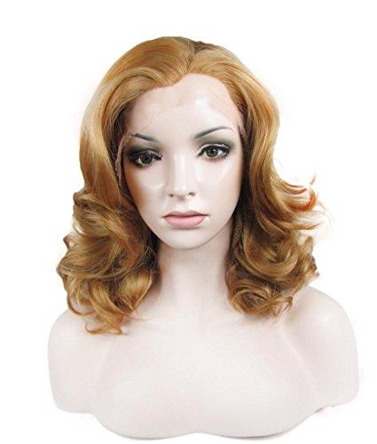 IMSTYLE femme blonde perruque lace front synthétique haute qualité résistant à la chaleur bouclé naturel court
