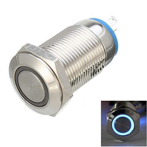 RanDal Dc 12V 12Mm Led Light Metal Push Button Latching Switch Waterproof Switch - Blau -