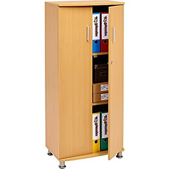Tall Cupboard with 3 shelves Storage Filing Cabinet Matching Range of Home Office in Beech - Piranha Furniture Bonito PC 6b