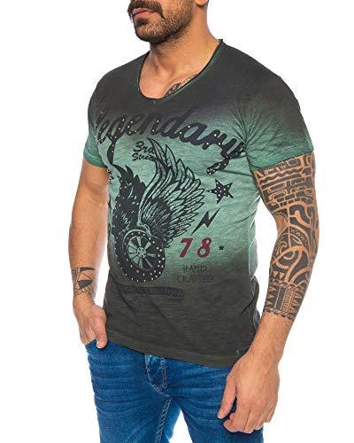 LARAZÉ Prince Horny Harry Herren T-Shirt Tee Kurzarm Shirt Mit V-Ausschnitt S-XXL, Größe:S, Farbe:Grün -