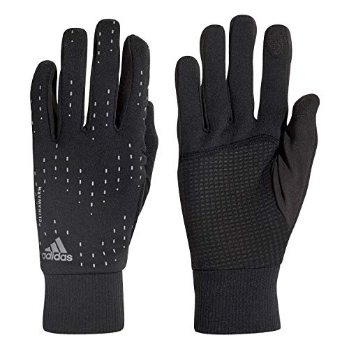 Adidas Run Gants Mixte Adulte, Black/Silver Metallic, FR : M (Taille Fabricant : M)