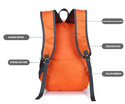 LJ Sport Unisex Outdoor Faltbarer 20L Rucksack Wasserdicht für Reisen Wandern Camping Radfahren Orange