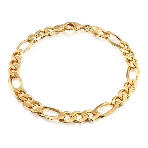 Bling Jewelry or rempli unisexe Figaro Bracelet chaîne 180 Jauge