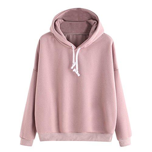 BHYDRY Frauen-Damen-Feste Lange Hülsen-beiläufige mit Kapuze Sweatshirt-Pullover-Spitzen-Bluse