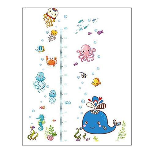 Beaulies Height Chart for Kids, Marine Life Height Chart Stickers Kids Room Wall Decor Height Marine Charts