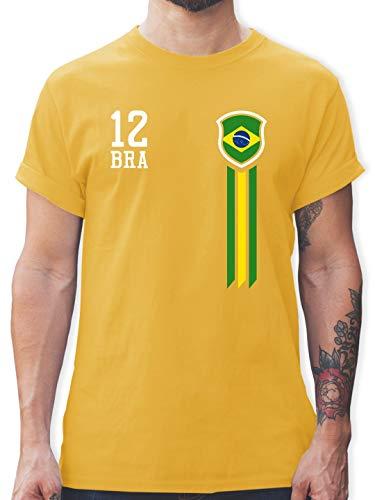 Fußball-Europameisterschaft 2020-12. Mann Brasilien Fanshirt - L - Gelb - L190 - Herren T-Shirt Rundhals