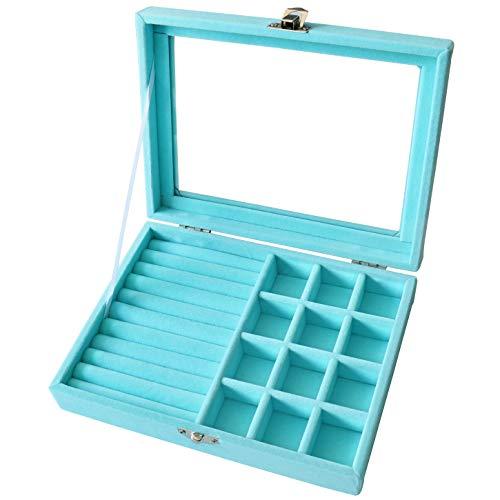 Blu-glas (Yoillione Ringlade Schmucklade Glas,Ohrringe Schmuckkästchen Damen,Schmuck Box Schmuckdisplay Ring Display,Samt Schmucklade Mit Deckel Ringkasten Blu)