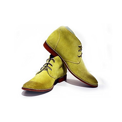 PeppeShoes Modello Pisa - 45 - Handgemachtes Italienisch Bunte Herrenschuhe Lederschuhe Herren Gelb Stiefeletten Chukka Stiefel - Rindsleder Wildleder - Schnüren -