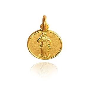 Barmherziger Jesus, Die Barmherzigkeit Gottes. Anhänger, Kleine Gold Medallion / Medaillon 14K Gelb Gold. 1.5 Gramm. handgefertigt Durchmesser der Medaille: 12 mm