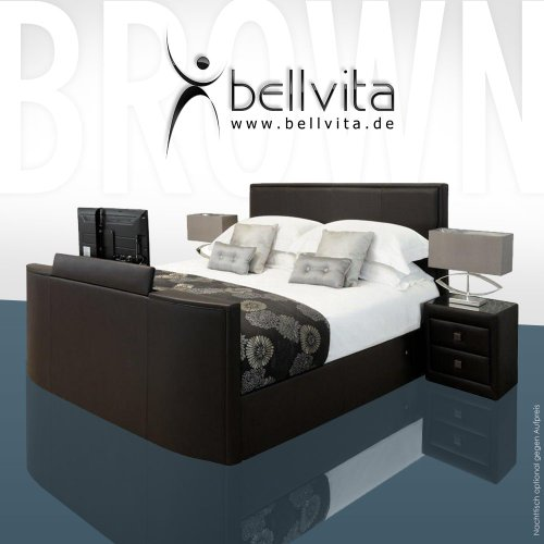 bellvita Wasserbett Mesamoll II mit Echtleder-Bettrahmen und versenkbarem Flatscreen TV inkl. Montage (Chocolate Dunkelbraun, 200cm x 220cm)