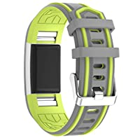 iBREK Silicone Replacement Bands With Metal Buckle for Fitbit Charge 2(No Tracker) (3# Gray/Lime, Medium(5.3-7.3 in))