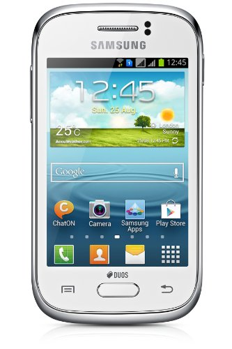 Samsung Galaxy Young DUOS Smartphone (8,3 cm (3,3 Zoll) Display, Quadband, 1GHz, 3 Megapixel Kamera, Bluetooth, Dual-SIM, Android 4.1) white (Samsung Handy Young)