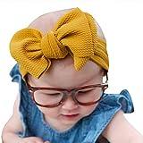 wanshop  ® Fascia per Capelli Neonata Elastica per Neonate Bambine Capelli Battesimo Bambina con Fiocchetti a Grande Bowknot Elegante Battesimale (Giallo)