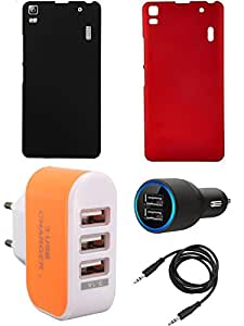 NIROSHA Cover Case Car Charger Charger for Lenovo K3 Note - Combo