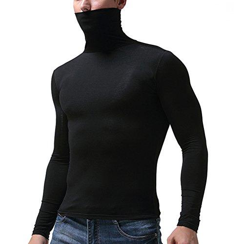Herren Thermo-Unterhemd - Langarm Rollkragen Thermounterwäsche Weich und Atmungsaktiv Warm Oberteil Compression für Gym Fitness Top M-3XL