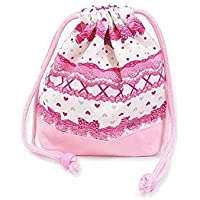 Preisvergleich für Drawstring Gokigen lunch in the race and patterns (small size) cup gusset bag ribbon Pretty cute (white) x Ox pink made in Japan N3560400 (japan import)