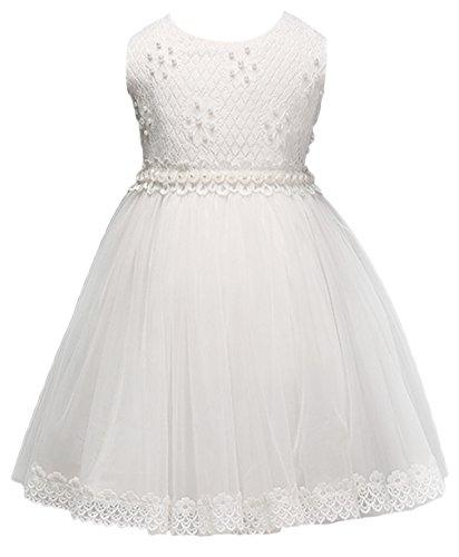 EOZY Enfant Fille Princesse Robe Blanc Dentelle Soirée Party Mariage Baptême 130