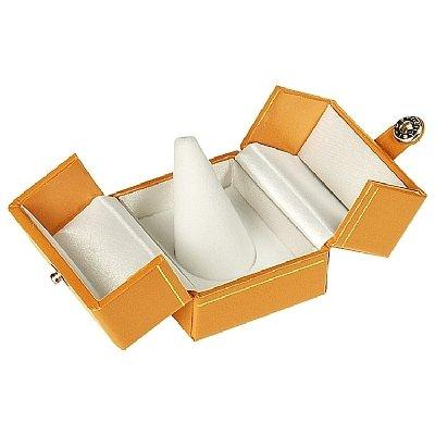 Finger Ring Box Delux-Medium Braun Grain Holz mit Gold Accent und Tür Schließung Medium Grain