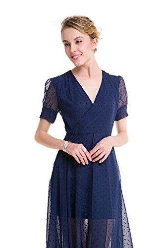 GWELL Vintage Damen Chiffon Maxikleid V-Ausschnitt Sommer Frühling Strandkleid Abendkleid Cocktailkleid Party XL -
