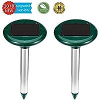 ZEBRAFI 2 Pezzi Scaccia Talpe Solare Avanzato Repellente per Talpe Toppi Ratti Serpenti a Ultrasuoni Confezione (Verde)