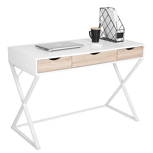 WOLTU Schreibtisch TS40ws Computertisch Bürotisch Arbeitstisch PC Laptop Tisch, in Melamin, mit 3 Schubladen, Gestell aus Stahl, 110x50x75cm(BxTxH), Holz, Weiß