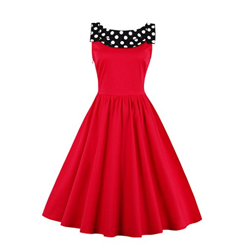 DISSA EEM1367 femme Vintage pin-up 50s 60s Robe de Soiré,Bal cocktail Rockabilly Swing Rouge