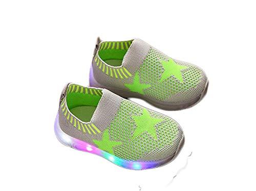 euchten Schuhe Baby Mädchen Sterne leuchtende Turnschuhe, Kinder Trainer Schuhe für Alter 1-6 Jahre (Farbe : Grün, größe : 30) ()