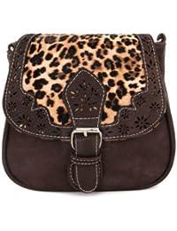 Hombro bolsa diagonal femenino nuevo hueco bolsa bolso de moda bolso correa diagonal, paquete de café oscuro
