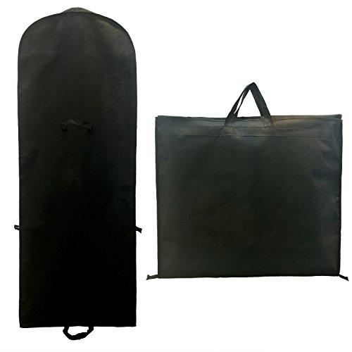 Atmungsaktiver Kleidersack 180 cm Länge, Schutzhülle für Brautkleider / Abendkleider / Anzüge / Mäntel - Langer Reissverschluss - mit Zwei Taschen für Zubehörteile - Schwarz TKB1001-black (Anzug Langen)