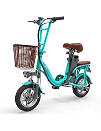"""LILIJIA Bicicleta Eléctrica Plegable De Montaña para Adultos, Bicicleta Eléctrica De 10""""/ Bicicleta Eléctrica De Viaje con Motor De 400 W, Batería De Gran Capacidad De 48 V 8 Ah"""