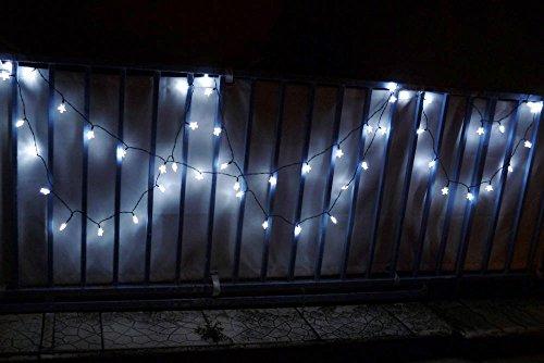 Guirlande solaire étoiles blanches 50 LEDs 9,3m