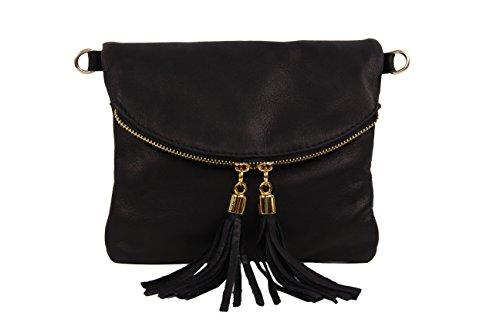 SLINGBAG Shakira Clutch / Handtasche / Umhängetasche aus hochwertigem Leder / Farbauswahl Schwarz