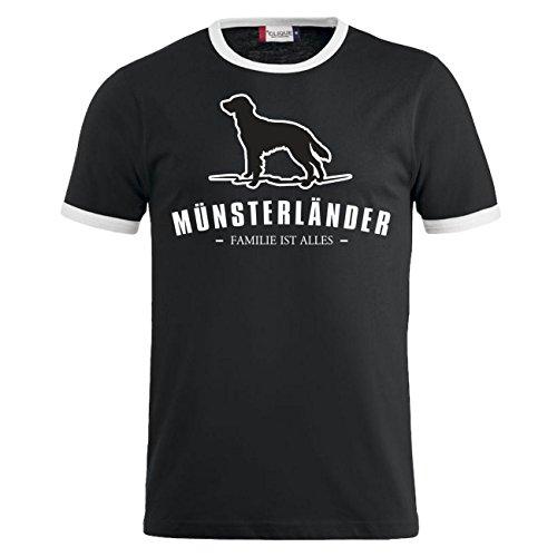 Männer und Herren T-Shirt Münsterländer - Familie ist alles Größe S - 8XL Schwarz/Weiß