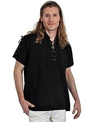 Chemise de pirate médiéval manches courtes cordelette coton noir