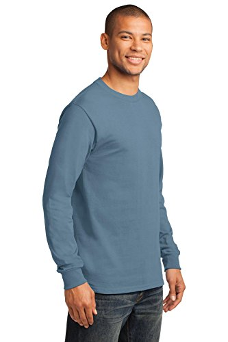 Port & Company Herren ist groß lang Sleeve Essential T Shirt Stonewashed Blue