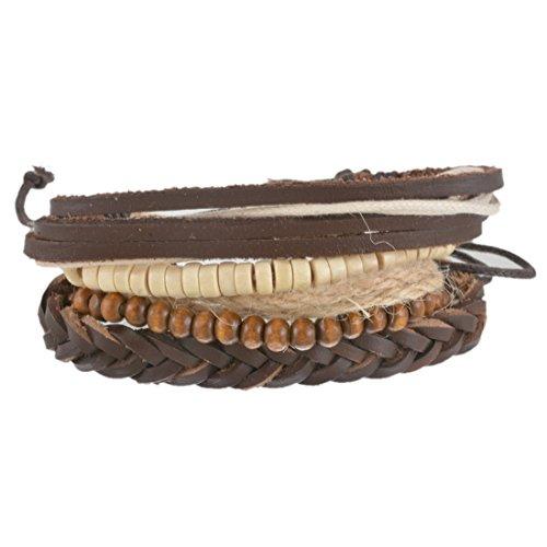 MJARTORIA Damen Leder Armband Holz Kugel Perlenarmband Boho Hippie Punk Stil Mehrsicht 4 Stück Braun (Zubehör Punk)