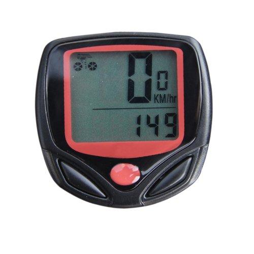 Goliton ® Kabel, LCD-Fahrradcomputer mit Entfernungsmesser, Geschwindigkeitsmesser 14-Funktion, Schwarz