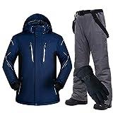 HIUGHJ wasserdichte Herrenjacke/Outdoor-Snowboard-Skihosen-Set/Windjacke für Erwachsene/Bergjacke mit Sonnenhut,Dark Blue and Gray(Gloves),M