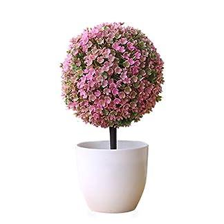Gysad Planta artificial Sakura bola de nieve Maceta planta artificial Interesante y lindo Planta artificial decorativa baño Bares, tiendas, cafés Planta artificial decorativa con maceta