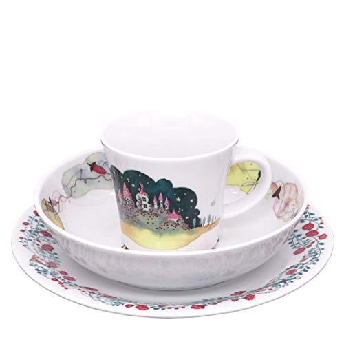 Kahla 32D200A50566C Kids Dornröschen Kinderset 3 teilig Porzellan Kindergeschirr Dekor bunt Teller Tasse Suppenteller Kinderservice