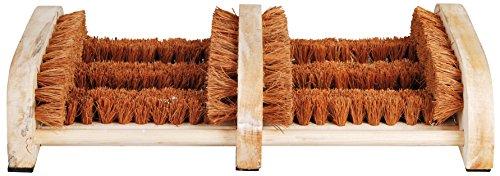 Esschert Design - Zerbino pulisciscarpe, con spazzole inferiori e laterali in fibre di cocco, da circa 36 cm x 24 cm x 7,4 cm, in legno, colore legno naturale/Cocco