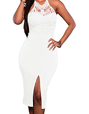 Bling-Bling Dress Women's Embroidered Top Front Slit Party Dress White M